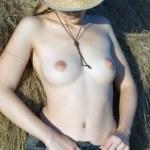 Girl on fresh hay — Stock Photo #2168584