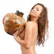 Young nudity girl with jug on white. Iso — Stock Photo