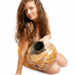 Priestess with vintage jug — Stock Photo #1120870