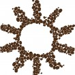 Symbol of coffee sun — Vettoriali Stock