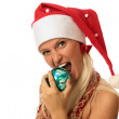 Sexy woman in Santa&#039;s cup - Stock Photo