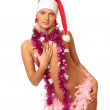 Sexy woman in Santa's cap — Stock Photo