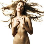 Nude woman with magnificent hair — Stock Photo