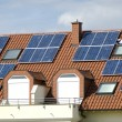 Solar colllectors on the ceiling of a modern house — Foto Stock